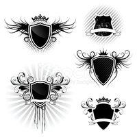 Conjunto DE Diseños DE Escudo Stock Vector.