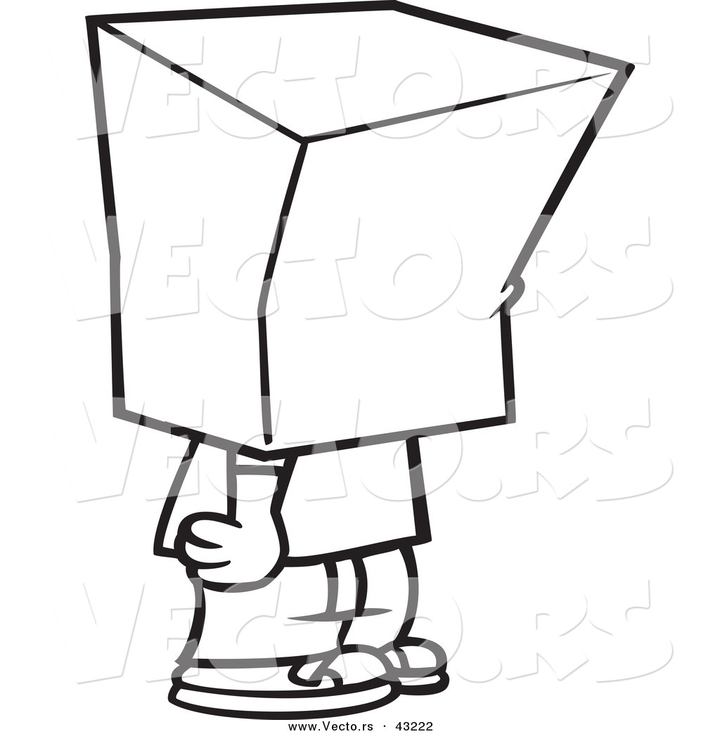 Vector of a Cartoon Boy Standing with a Bag over His Head.