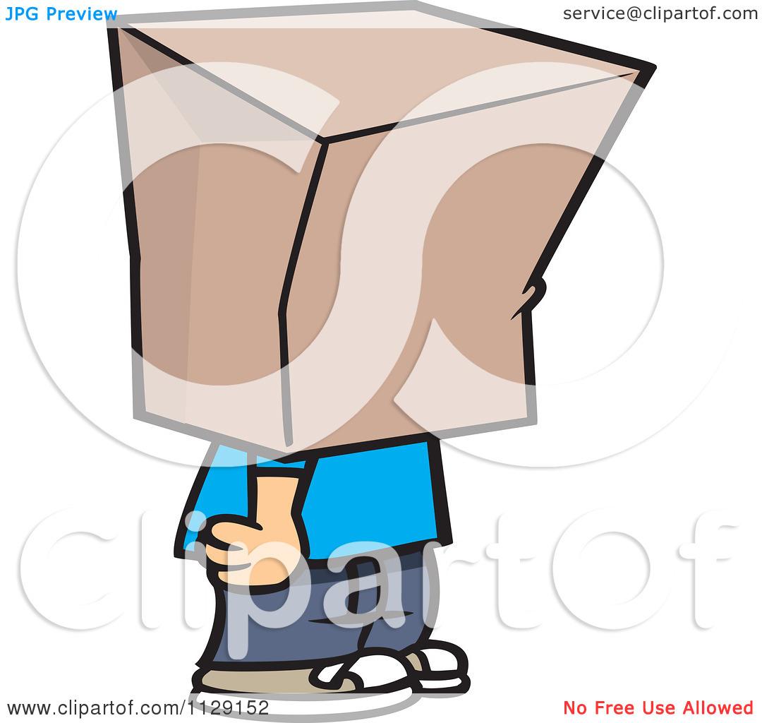Cartoon Of A Shamed Boy With A Bag On His Head.