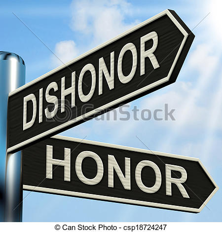 Stock Photo of Dishonor Honor Signpost Shows Disgraced And.
