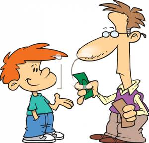 Father Handing Money To His Son with a Disgruntled Look on His.