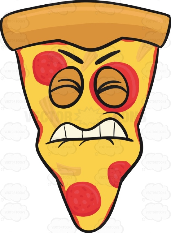Irritated And Disgruntled Slice Of Pepperoni Pizza Emoji Cartoon.