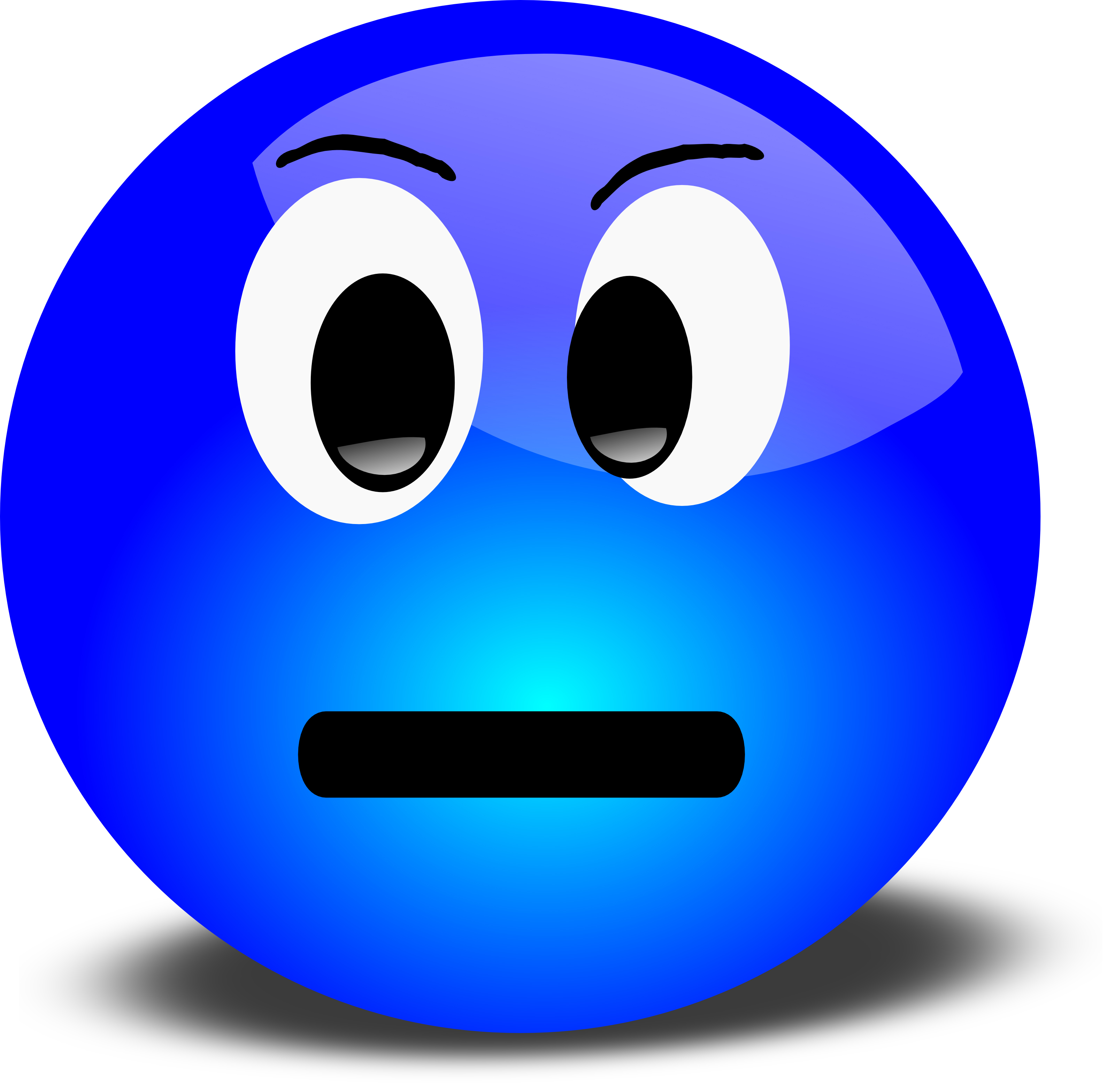 3D Disgruntled Smiley Face Clipart Illustration.