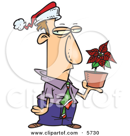 Disgruntled Employee in a Santa Hat, Holding a Poinsettia Plant as.