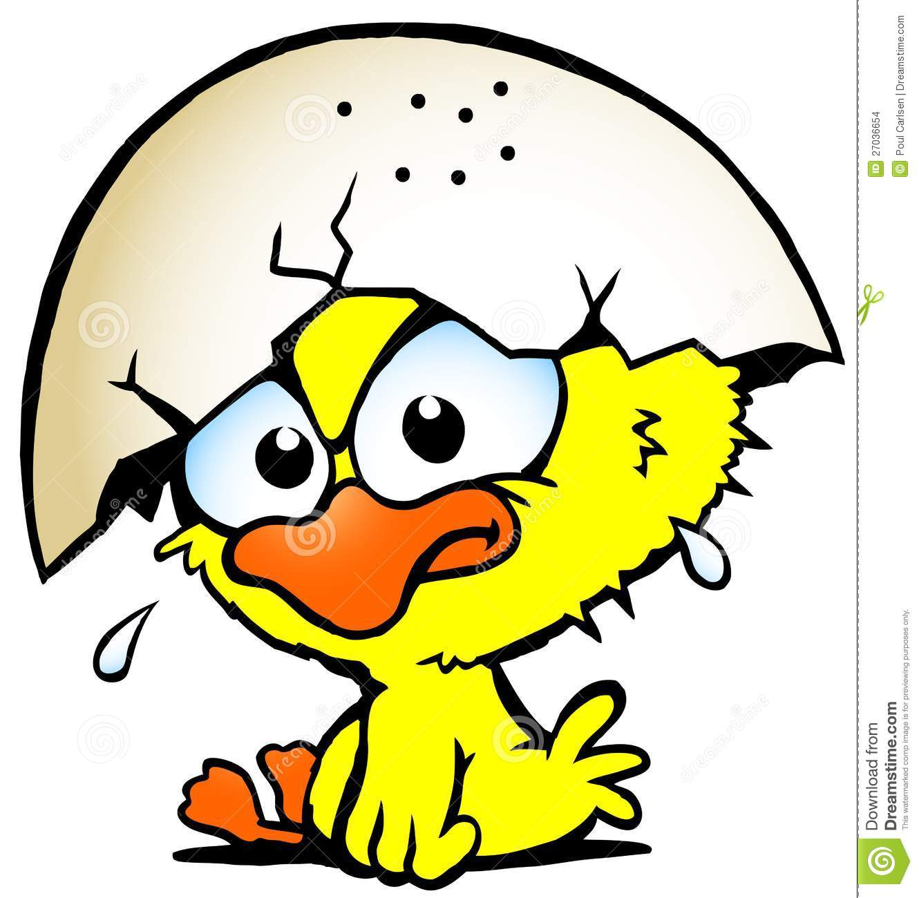 Illustration Of An Cute Unhappy Baby Chicken Stock Images.