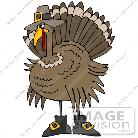 Clip Art Graphic of a Thanksgiving Turkey Bird Disguised As A.