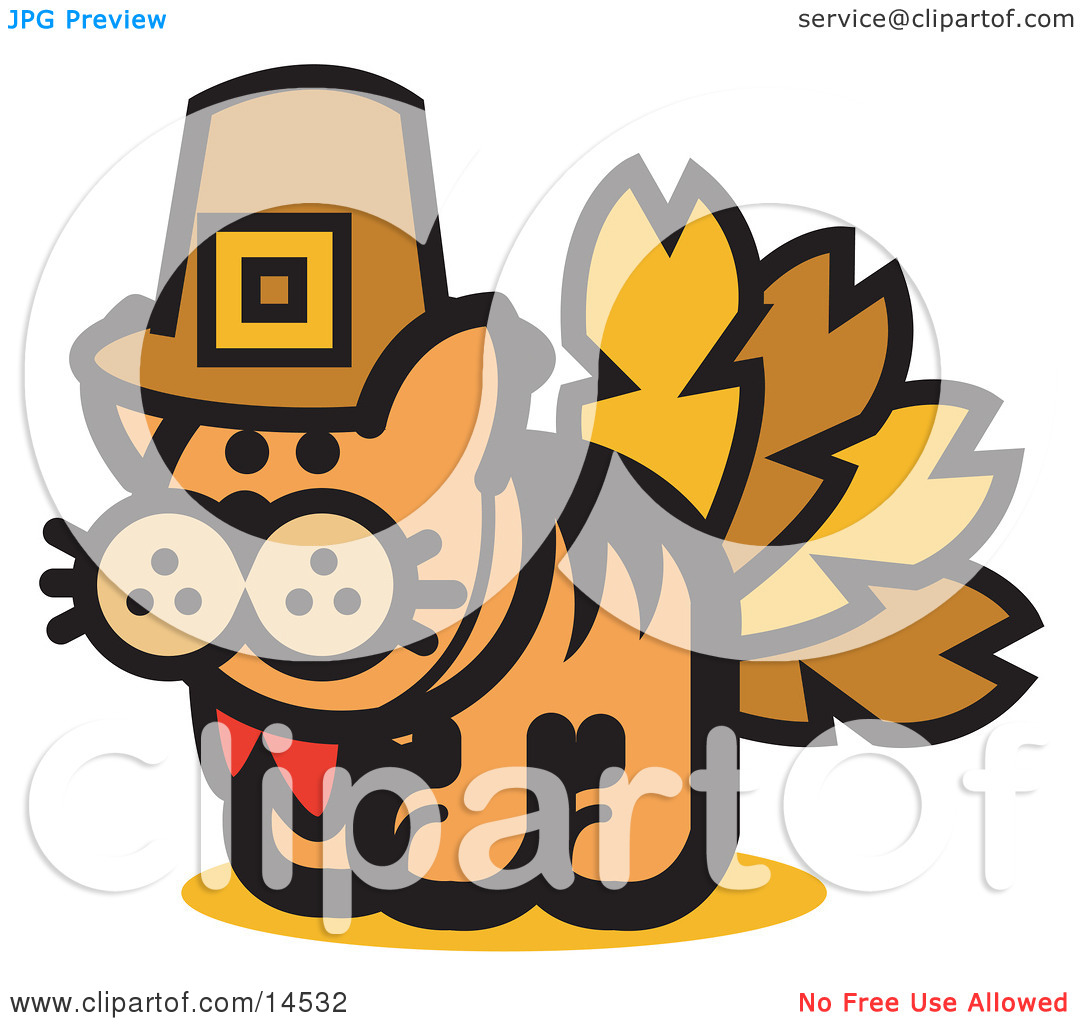 Ginger Cat Disguised as a Thanksgiving Turkey Clipart Illustration.