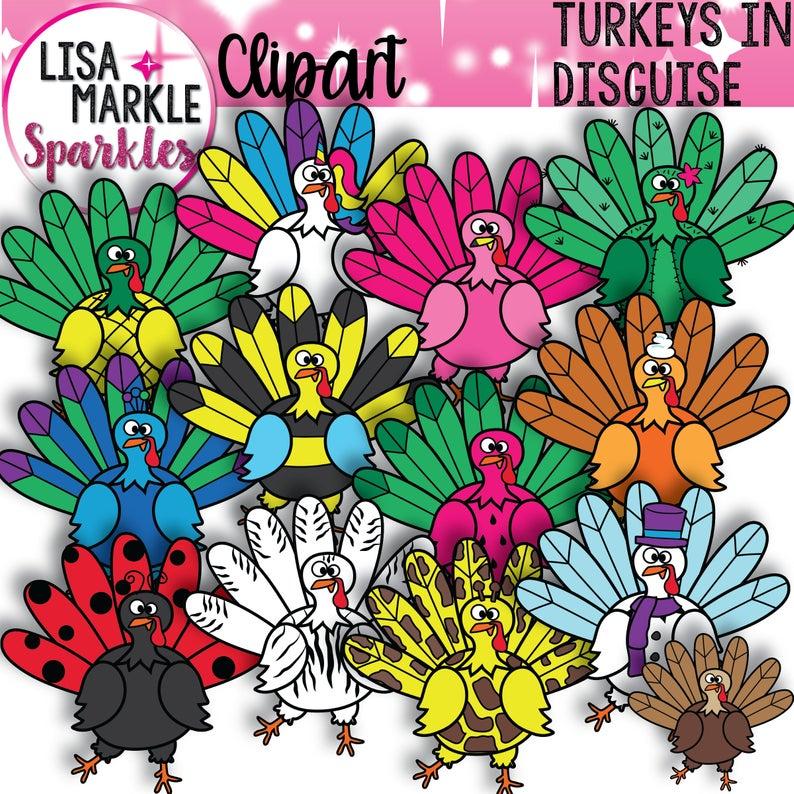 Turkey Clipart, Thanksgiving Clipart, Fall Clipart.