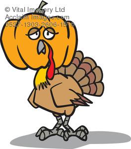 Cartoon Clip Art Illustration of a Turkey Wearing a Disguise.