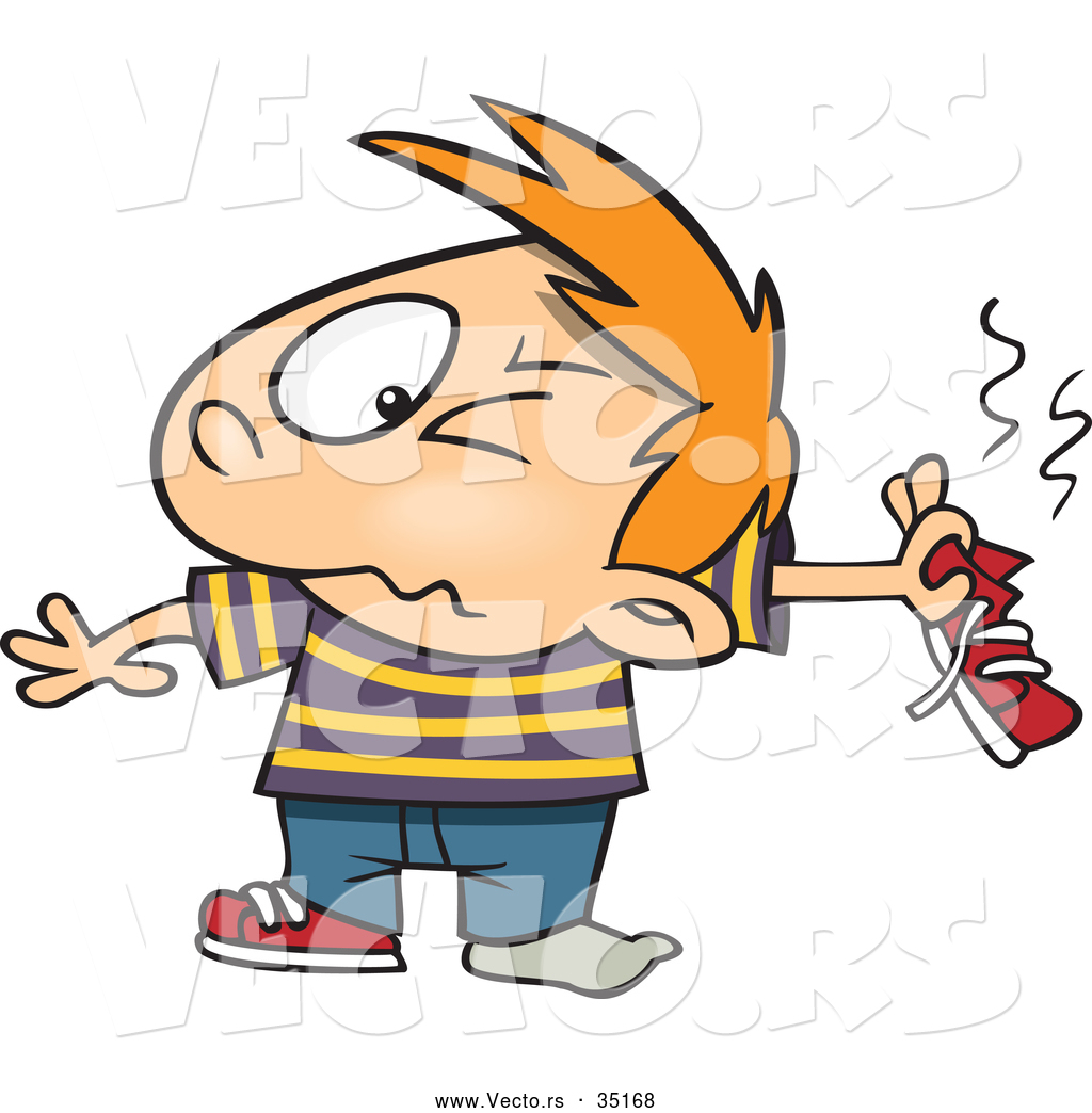 Vector of a Disgusted Cartoon Boy Holding His Smelly Shoe by Ron.