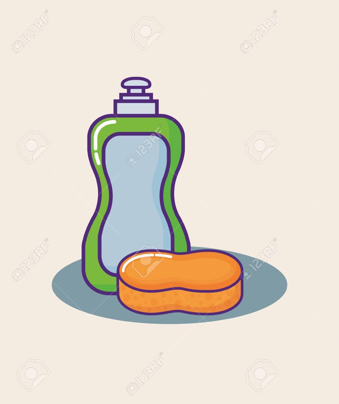 Liquid Dish Soap bottle and sponge over orange background, colorful...