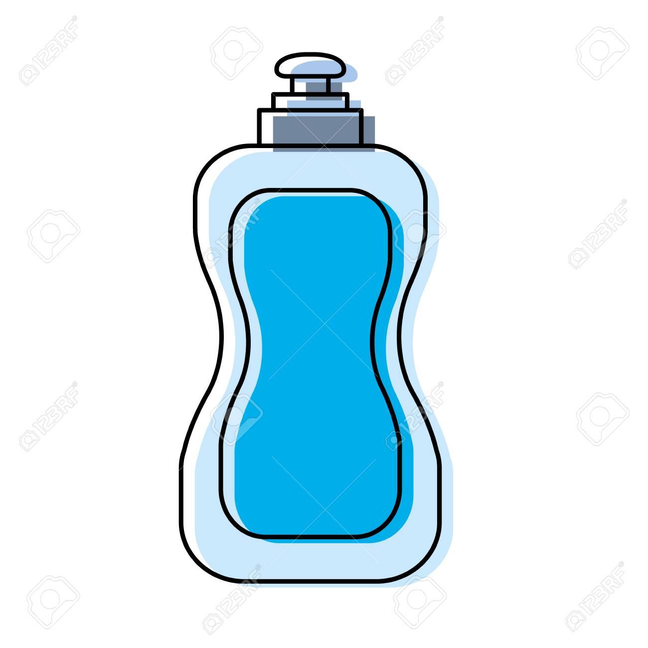 pastel blue dish washing soap over white background vector illustration.