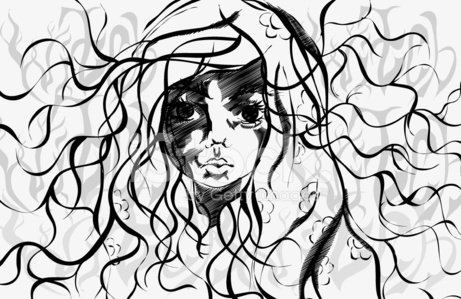 Beautiful girl. Disheveled hair. Witch. Clipart Image.