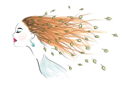 Art Woman With Long Disheveled Hair premium clipart.