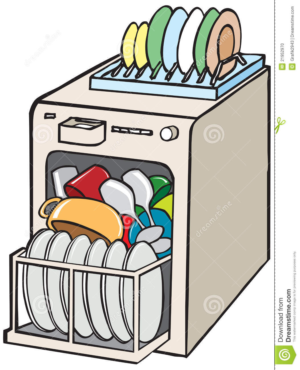 Dirty dishes in dishwasher clipart.