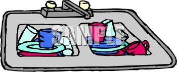Dishes In Sink Clipart.