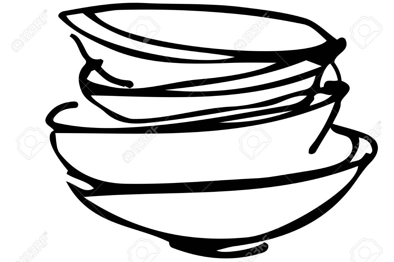 black and white vector sketch of a pile of dirty dishes.