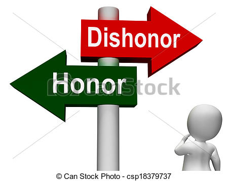 Stock Photos of Dishonor Honor Signpost Shows Integrity And Morals.