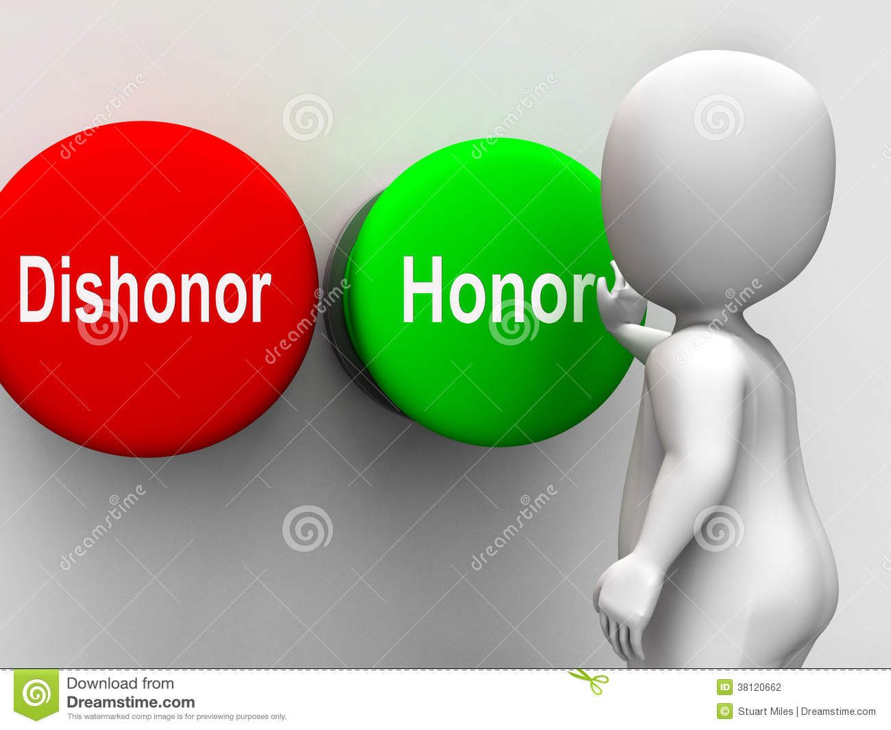 Dishonor Honor Keys Shows Integrity And Morals Royalty Free Stock.