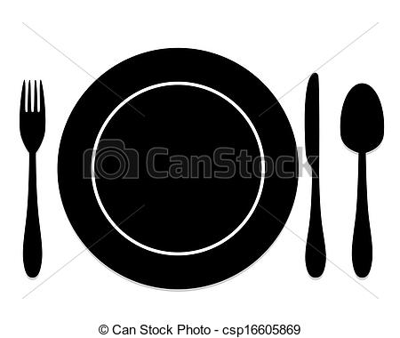 Clip Art Vector of cutlery and plates csp16605869.