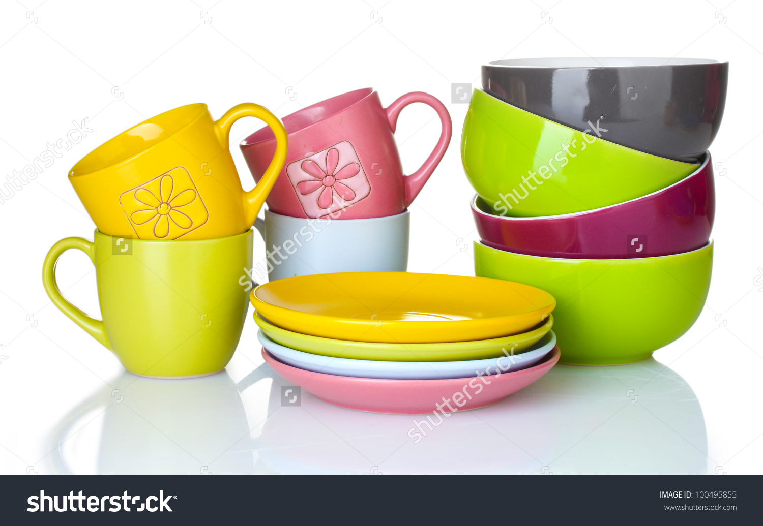 Bright Empty Bowls Cups Plates Isolated Stock Photo 100495855.