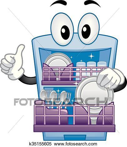 Dishwasher Mascot Thumbs Up Clipart.