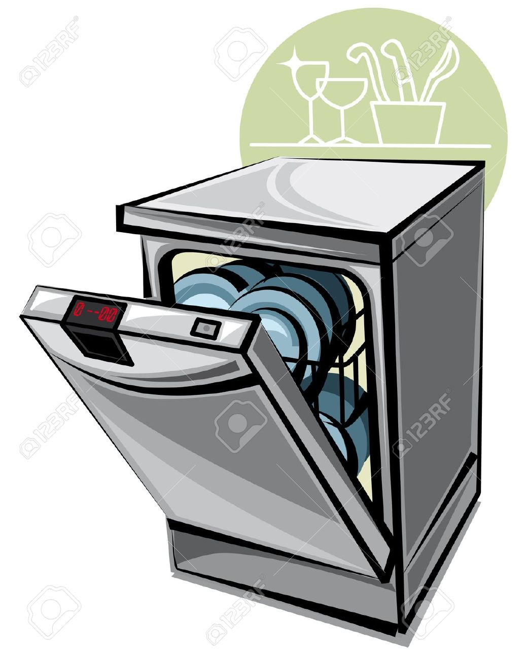 Unload dishwasher clipart.
