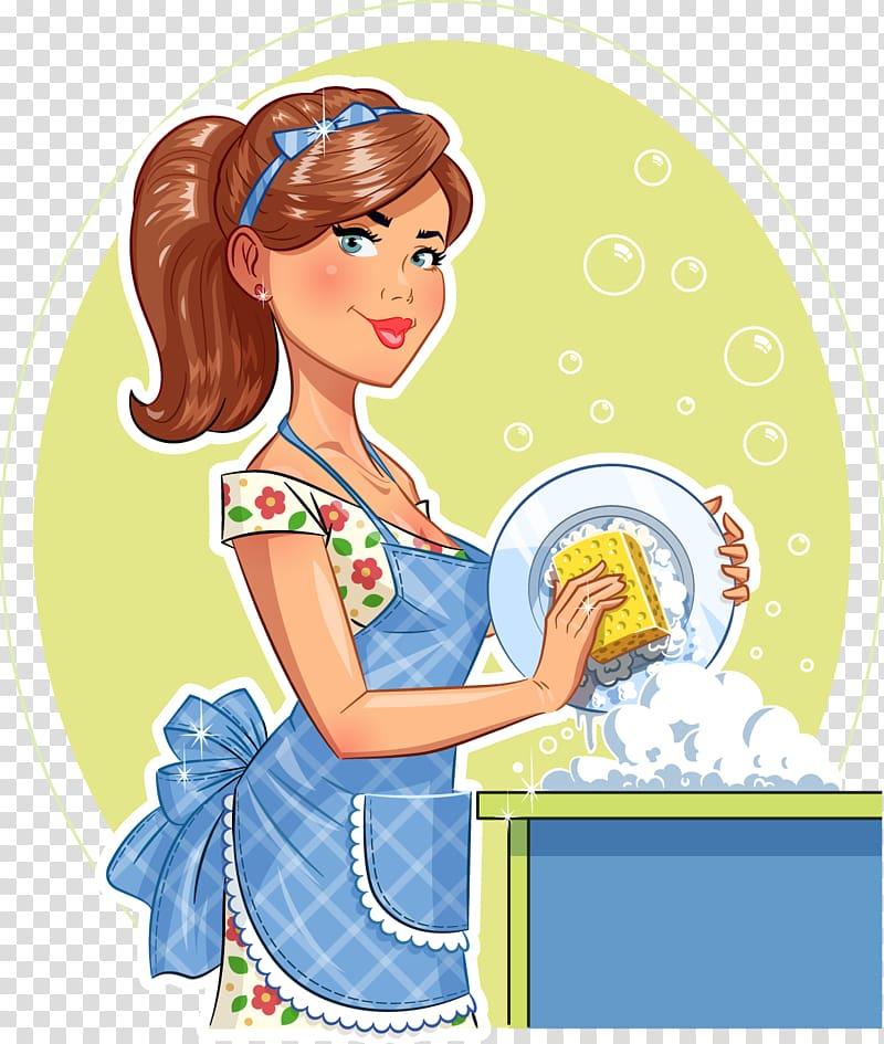 Woman washing dishes , Dishwashing Plate Scouring pad, Women washing.