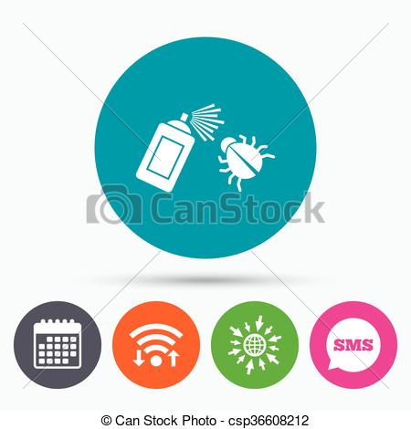Vector Clip Art of Bug disinfection sign icon. Fumigation symbol.