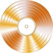 Clip Art of Black vinyl record lp album disc isolated on white.