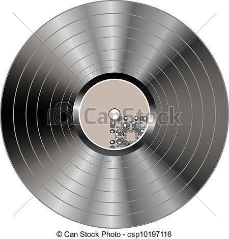 Vector Clip Art of Black vinyl record lp album disc isolated on.