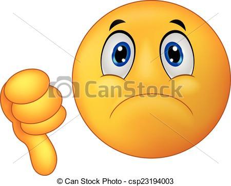 Vector Clipart of Dislike sign emoticon cartoon.