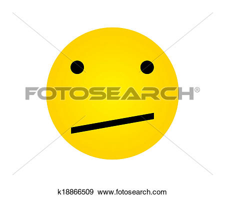 Stock Illustration of Yellow Face with Dismay Expressions.