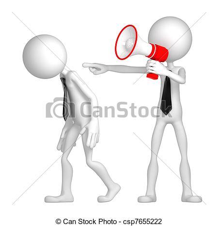 Clip Art of Boss dismisses employee. Isolated csp7655222.