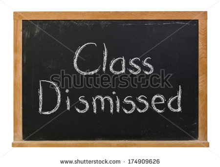 Class Dismissed Hand Written White Chalk Stock Photo 174909626.