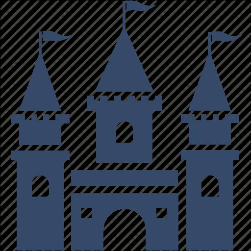 Amusement park, castle, disney, theme park icon.