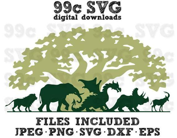 Disney Animal Kingdom SVG DXF Png Vector Cut File Cricut Design.