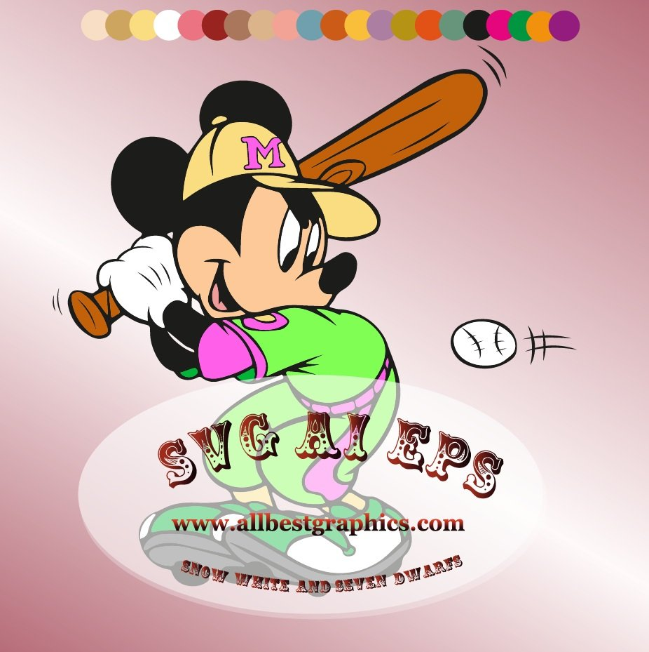 Mickey Mouse Svg Baseball Sport Clipart.