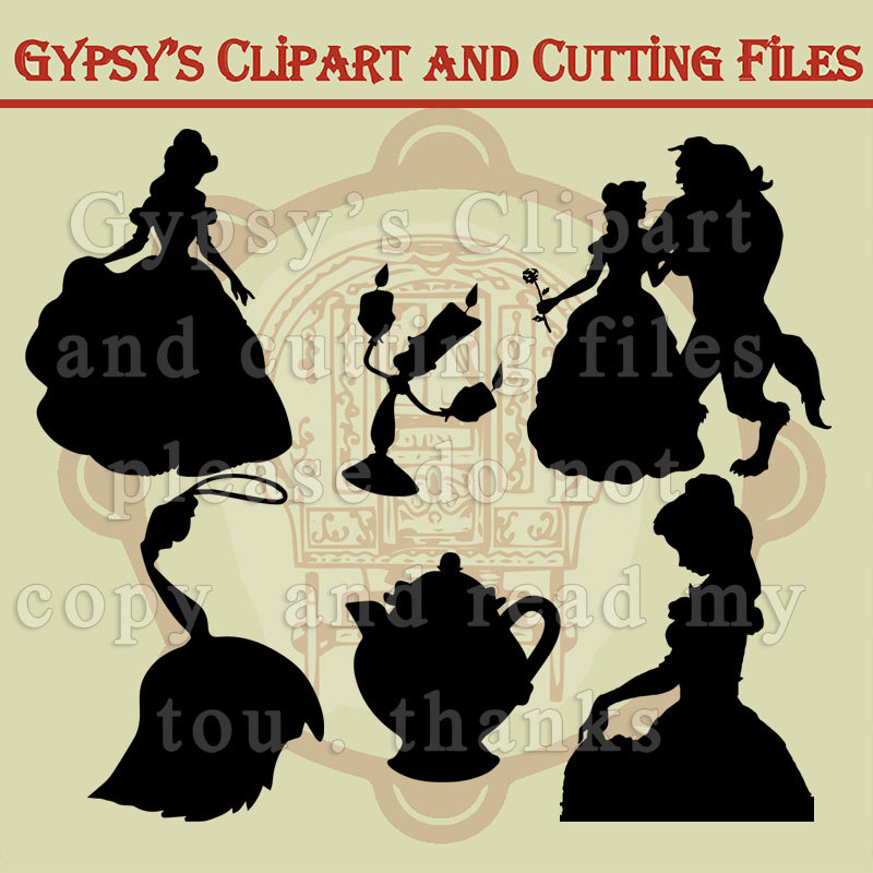 Beauty and the Beast, Silhouettes, Belle, Beast, Disney svg.