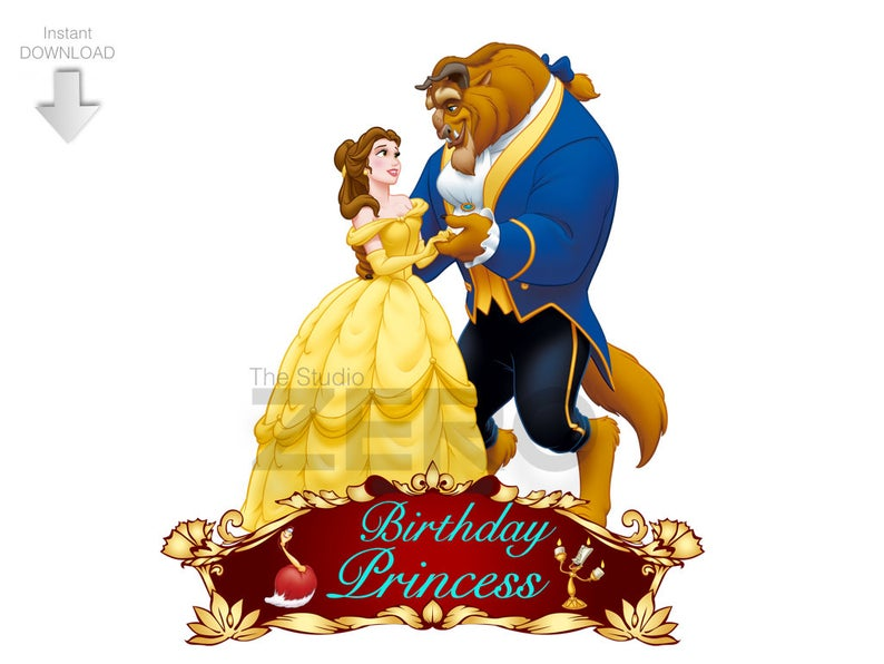 Disney Beauty and the Beast Clipart, Digital Birthday Clipart, Personalize,  Printable Iron On Transfer or Use as Clip Art, DIY Disney Shirt.