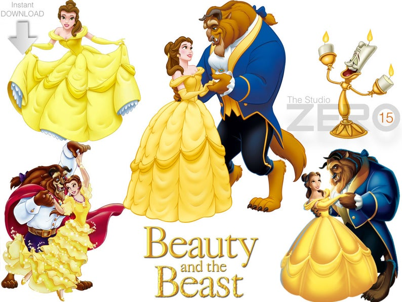 15 Disney Beauty and the Beast Clipart (15 PNG + 15 JPEG + 15 Mirror  Files), 72.