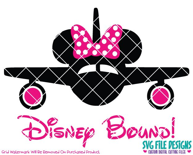 Disney Bound Minnie Mouse Airplane Cut File Set in SVG, EPS, DXF, JPEG, and  PNG.