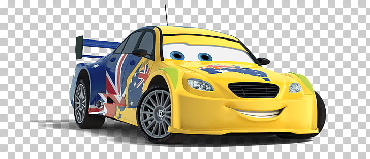Frosty, Disney Pixar Cars 2 yellow and blue car illustration.