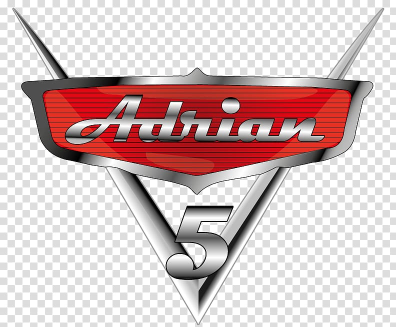Red and black Adrian 5 logo, Lightning McQueen Logo Cars.