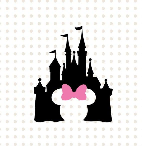 Disney Castle svg, Disney Castle Silhouette, Disney Castle with Minnie  head, Disney files for Cricut and Silhouette, Disney vector clipart.