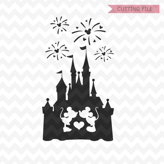 Disney Castle Silhouette With Fireworks.