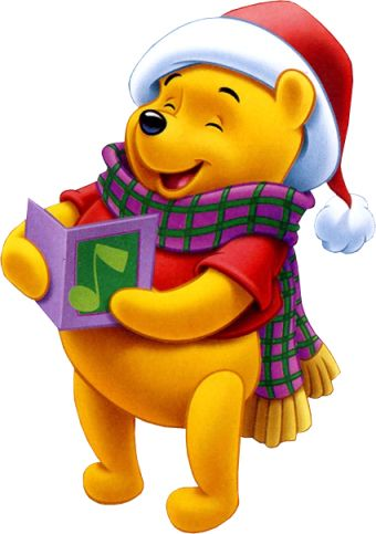Christmas Caroler Pooh never to early to get that Christmas feeling.