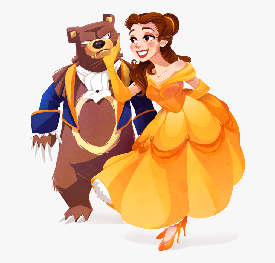 Belle & Beast Together Clipart.