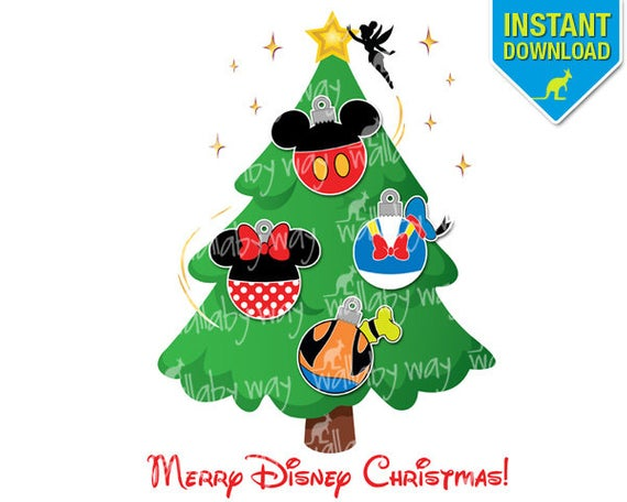 Disney Christmas Tree Printable Iron On Transfer or Use as Clipart.