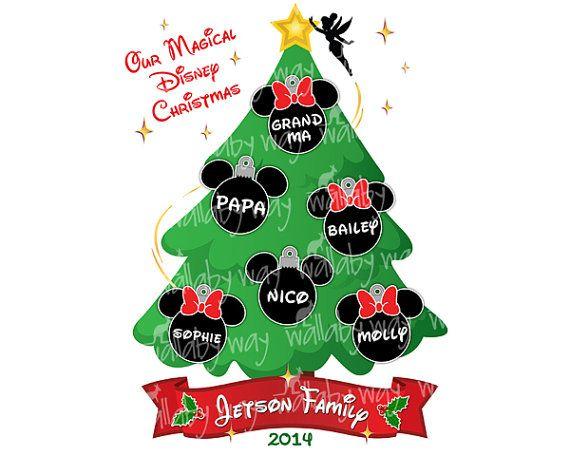 Disney Christmas Tree Family Printable Iron On Transfer or.